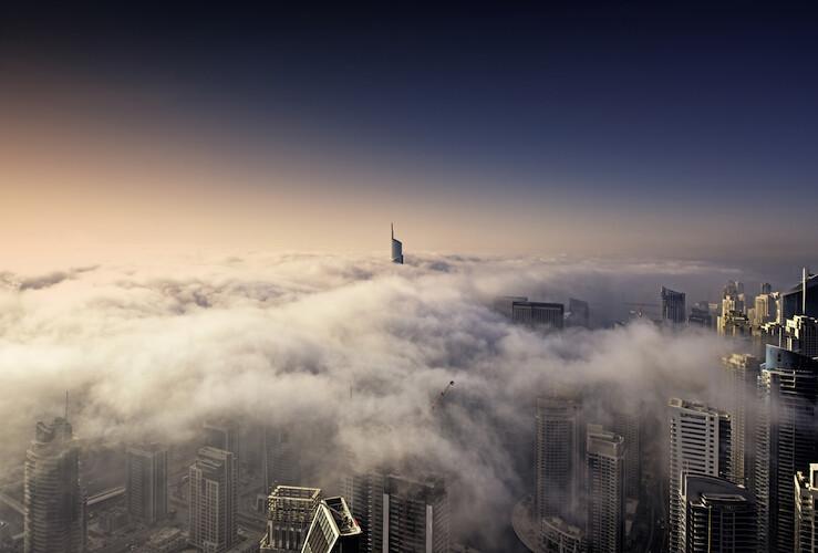 Dubai Skyline Fog on Alu-Dibond or Plexiglas