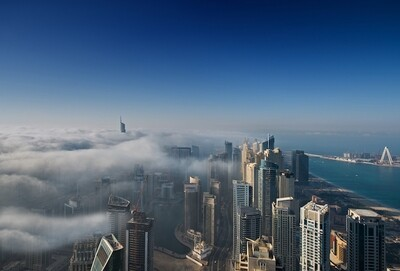 Dubai Skyline Fog on Alu-Dibond or Plexiglas