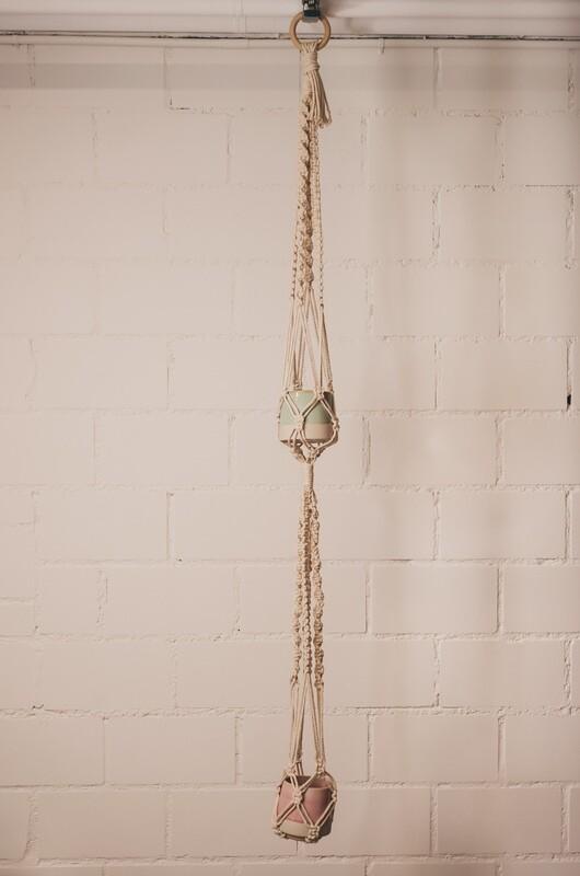Macramee double hanging basket