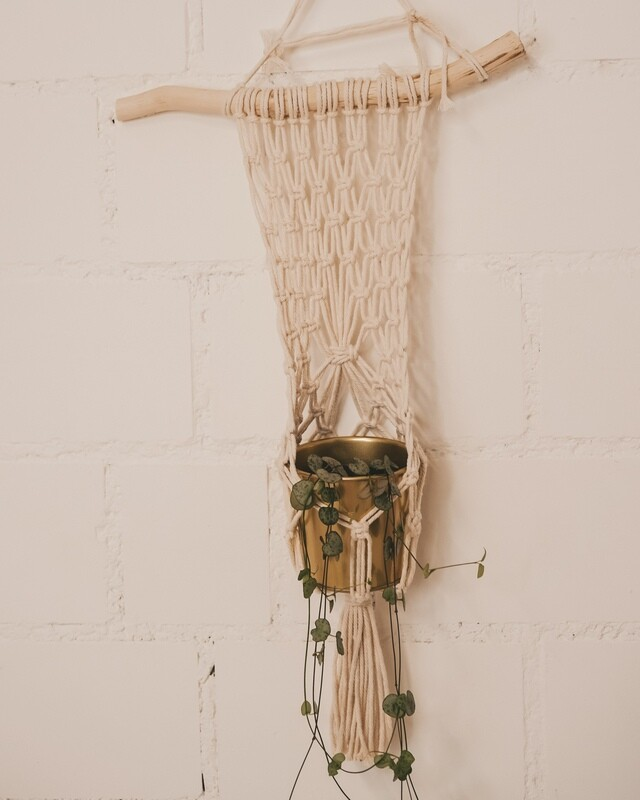 Macramee hanging basket with wooden stick