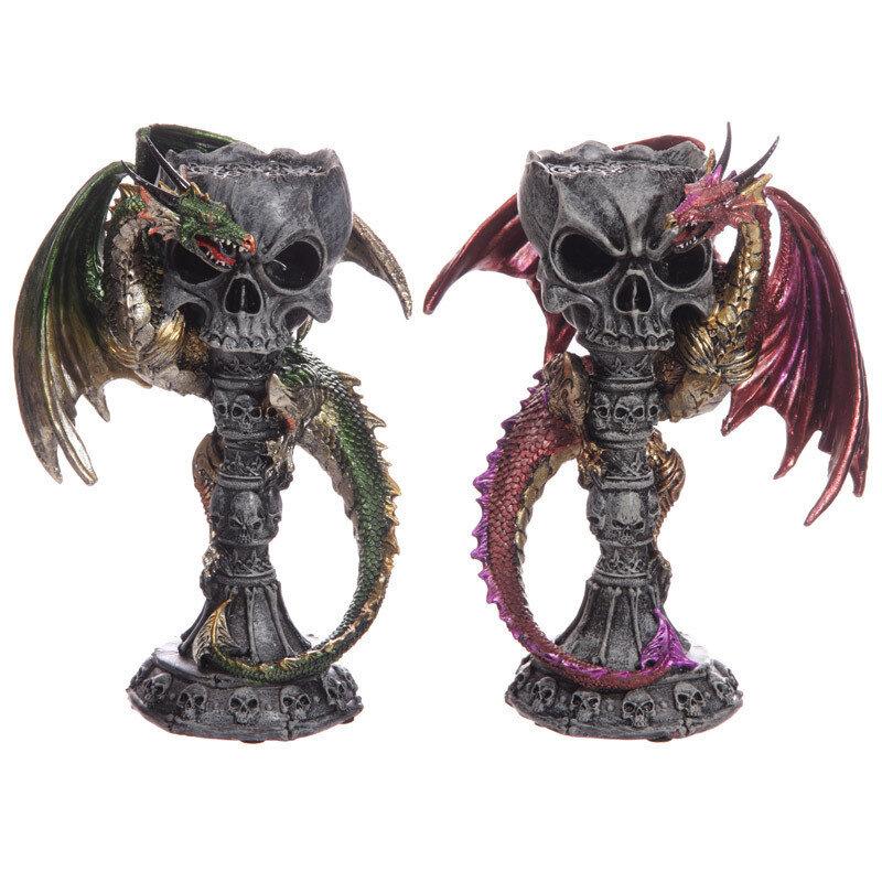 Cáliz Portavelas Calavera y Dragón Leyenda Oscura
