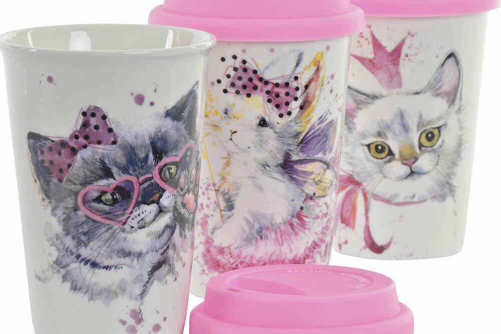 Vaso Porcelana con Tapa Gatos y Conejos