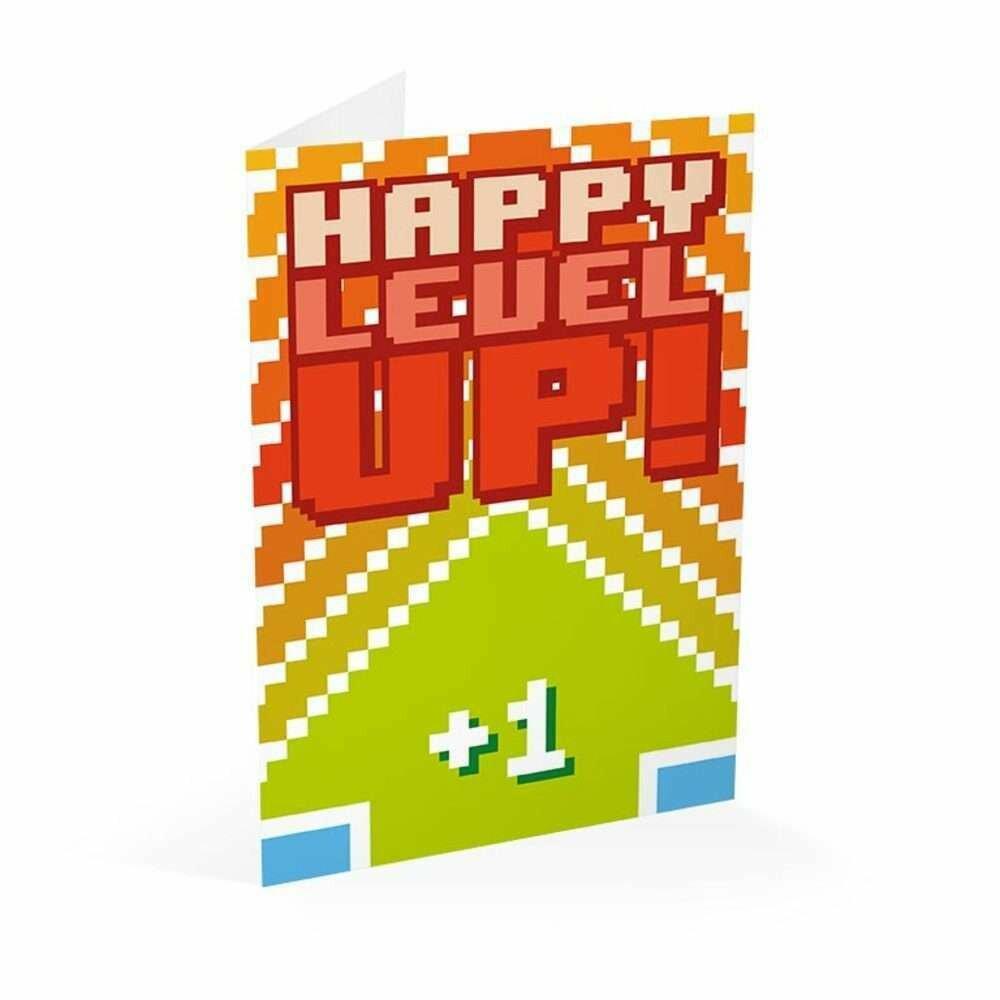Tarjeta Felicitación Gamer Happy Level Up