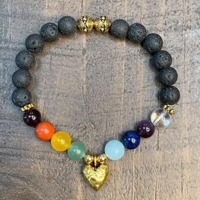 Chakra Balancing Bracelet: Gold Hammered Heart