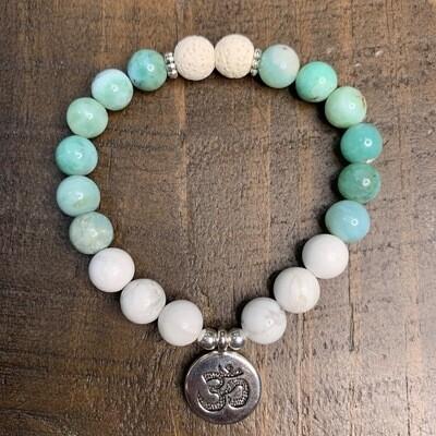 Larimar & Howlite Bracelet-Silver Om or Lotus Flower