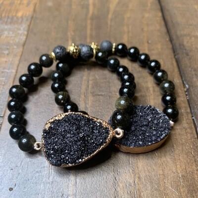 Gold & Black Obsidian Druzy Bracelet-10mm (7.75