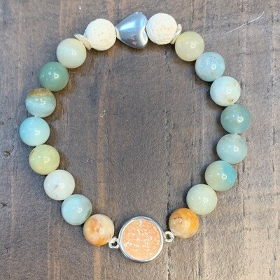 Amber Druzy & Amazonite Beads Bracelet-8mm