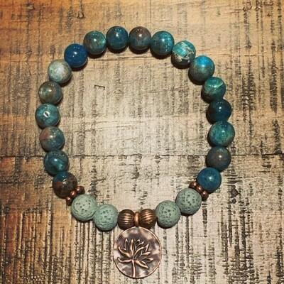 Apatite Bracelet: Copper Lotus