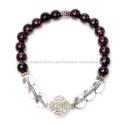 I am Grounded: Root Chakra Balancing Bracelet-Garnet & Quartz Crystal