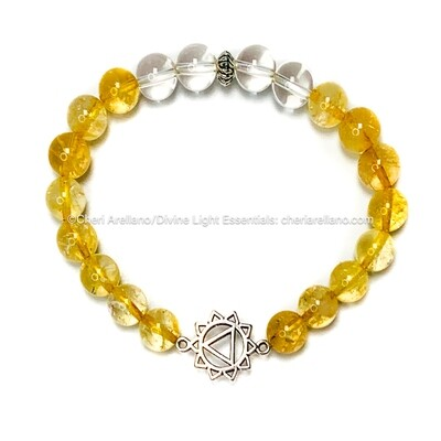 I am Powerful: Solar Plexus Chakra Balancing Bracelet- Citrine & Quartz Crystal