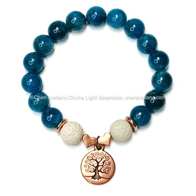Apatite Bracelet: Copper Tree of Life