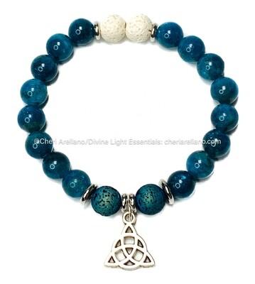 Apatite Bracelet: Silver Triquetra