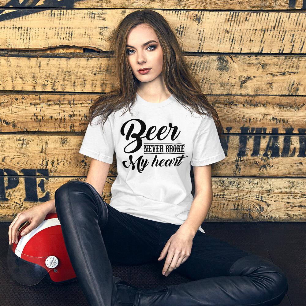 Beer Never Broke My Heart Short-Sleeve Unisex T-Shirt/ Bella + Canvas 3001