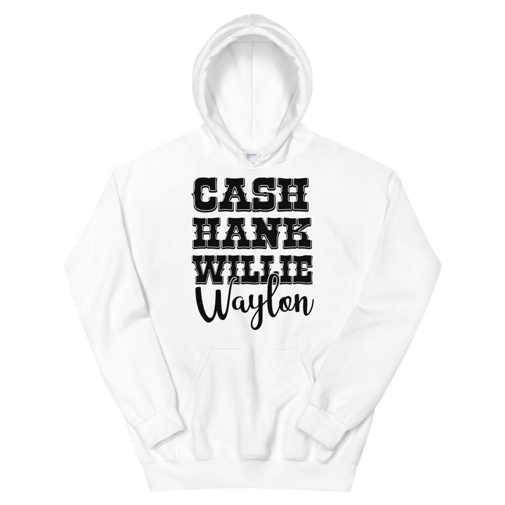 Cash Hank Willie Waylon Unisex Hoodie/ Gildan 18500