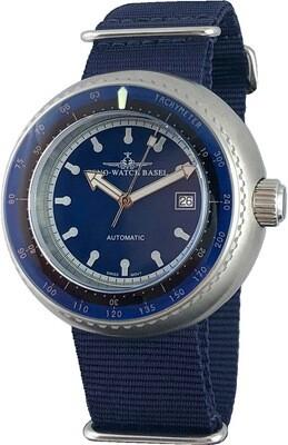 Zeno Watch - Retro Deep Diver Tachymeter blau, Automatik, Edelstahl - 2 Jahre Garantie, inkl. Uhrenbeweger!