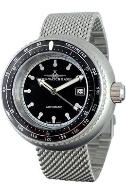 Zeno Watch - Retro Deep Diver Tachymeter schwarz, Automatik - 2 Jahre Garantie, inkl. Uhrenbeweger!