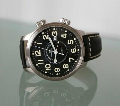 Zeno Watch - OS Pilot Vibration-Alarm Automatik schwarz - 2 Jahre Garantie, inkl. Uhrenbeweger!