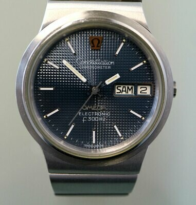 Omega Electronic f300 Hz Stimmgabel Constellation Chronometer, Edelstahl, 80er Jahre