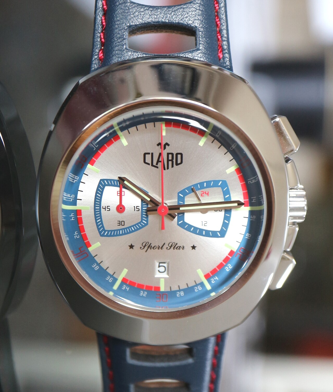 """CLARO Quartz """"Sport Star"""" Chronograph Stahl mit silbernem Zifferblatt - 2 Jahre Garantie"""