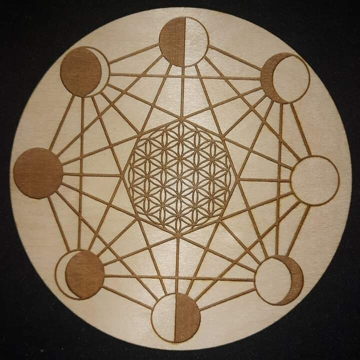 Moon Phases/Flower of Life Crystal Grid