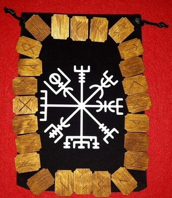 Rune Set of 24 in Vegvisir Decorated  Pouch