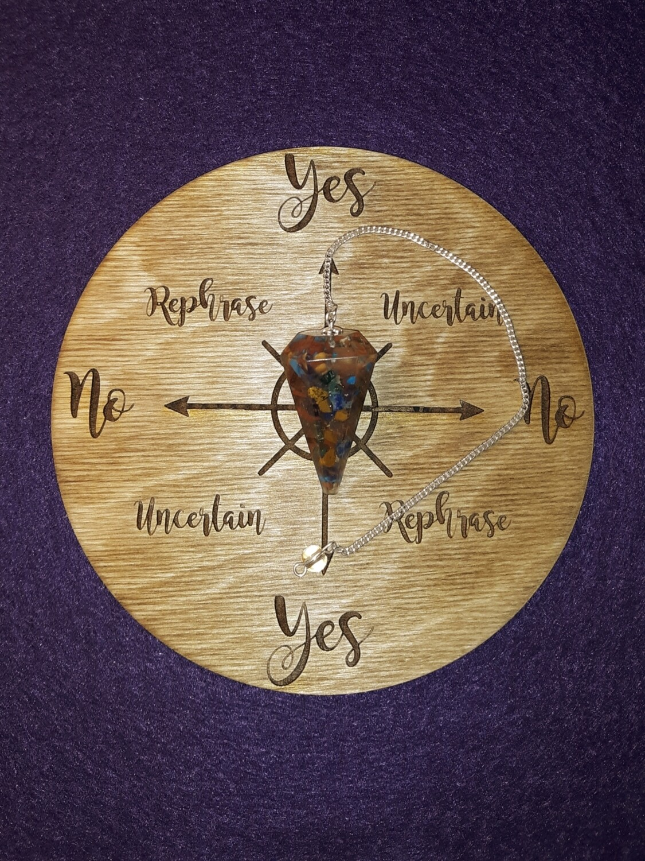 Medium Pendulum Board & Chakra Orgone Pendulum Set
