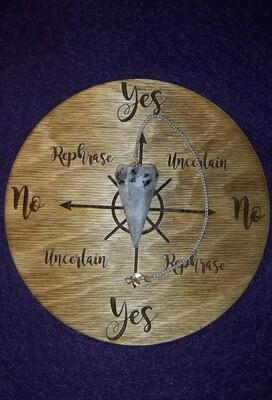 Medium Pendulum Board & Rainbow Moonstone Pendulum Set