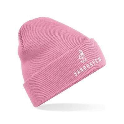 SANDHAFEN Beanie Dusky Pink Logo und Aufschrift