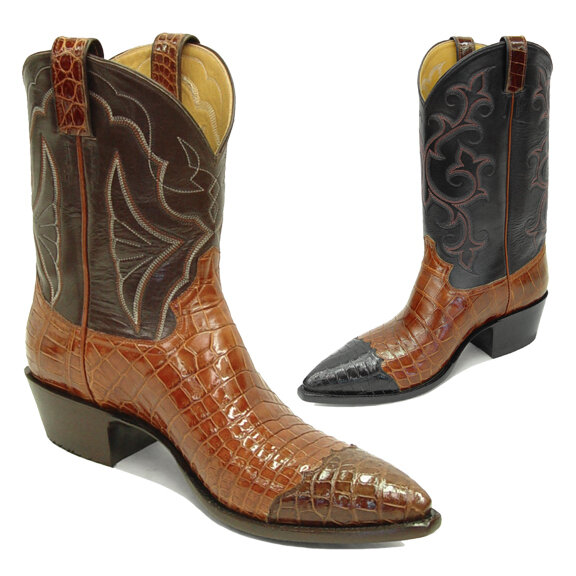 Smooth Nile Crocodile Wing Tip Cowboy Boots (15 Colors)