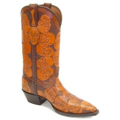 Bad Bones Hand-Tooled Cowboy Boots