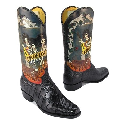 Dia de los Mungle Hand-Tooled (15 Colors) Cowboy Boots