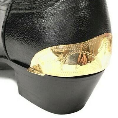 German Alpaca Boot Heel Plates Engraved (Gold)