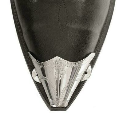 German Silver X-Toe Boot Tips Engraved