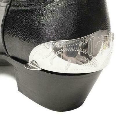 German Alpaca Boot Heel Plates Engraved (Silver)