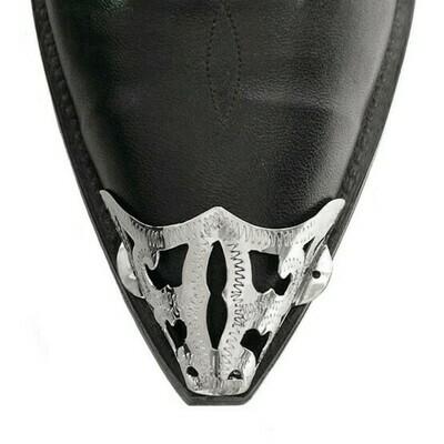 German Silver X-Toe Boot Tips Filigree