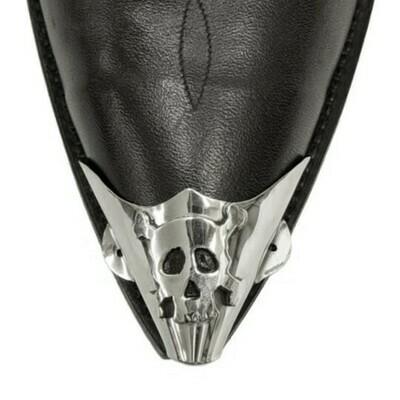 German Silver X-Toe Boot Tips Skull