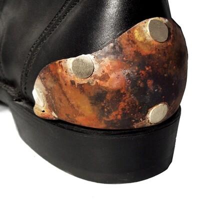 German Alpaca Boot Heel Plates Van Helsing (Flamed Silver)