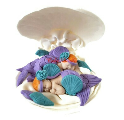 Twins Mermaid Baby Shower, Twin Fondant Mermaids in a Clam shell Cake Topper, Cake Decorations, Sleeping Baby Mermaid, Under the Sea cake