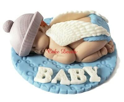 Winter Angel Baby Shower Cake Topper, Fondant, Christmas Angel Sleeping Baby