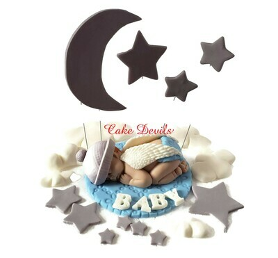 Fondant Angel Baby Shower Cake Topper Kit with Moon, Stars, and Clouds