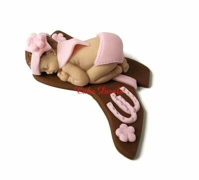 Fondant Cowgirl Baby Shower Cake Topper