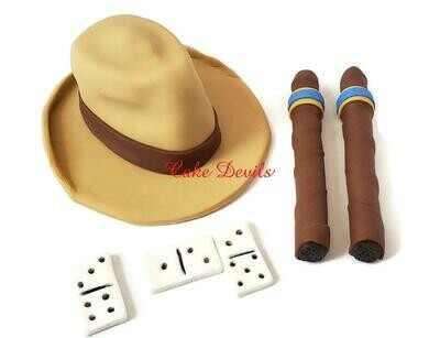 Fondant Men's Fedora Hat, Cigars, and Dominoes Cake Toppers, Great for a Men's Retirement or Birthday Cake