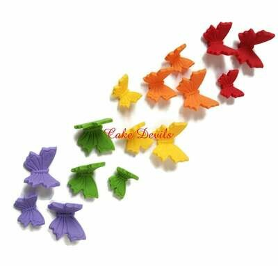 Fondant Rainbow Butterfly Cake Decorations, Cake Toppers, or CupCake Toppers