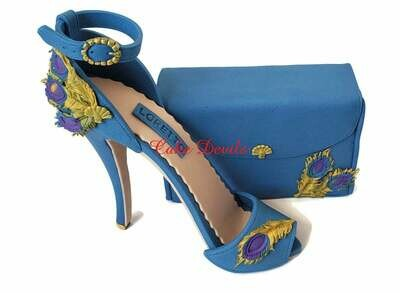 Fondant Peacock High Heel Cake Topper with matching Clutch Purse