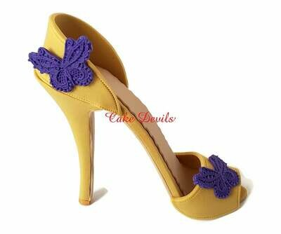 Fondant High Heel Shoe Cake Topper, Stiletto with lace embroidered Butterfly