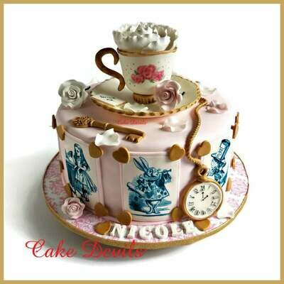 Elegant Alice in Wonderland Fondant Cake Toppers
