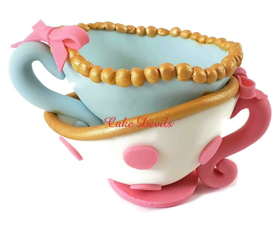 Whimsical Fondant Tea Cups Cake Topper