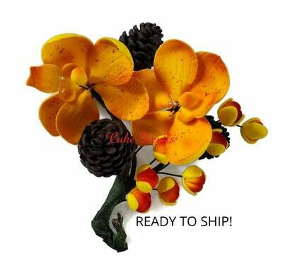 Fall Flowers and Pine cone Spray Cake Topper, Ready to Ship,