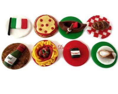 Italian Themed Fondant Cupcake Toppers