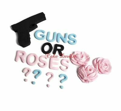 Guns or Roses Gender Reveal Cake Topper, Fondant